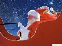 Санта  в санях с подарками