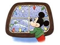 Микки-Маус смотрит в окно