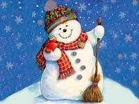 Снеговичок с птичкой и метлой