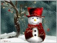 Снеговичок в  цилиндре и накидке