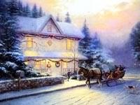 Дом, упряжка зимой
