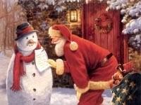 Снеговик со списком и Санта