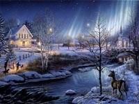 Северное сияние зимой