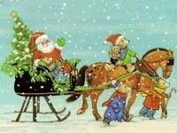 Санта в упряжке с медвежатами