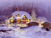 Мост и дома под снегом