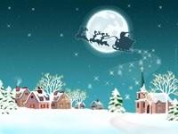 Санта в упряжке над городом