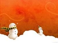 Два снеговика в сугробах