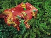 Подарок и игрушки на ели