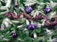 Фиолетовые шары на елке