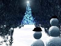 Елка и снеговики в лесу