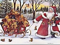 Санта с медвежатами в санях