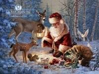Санта раздает подарки лесным друзьям