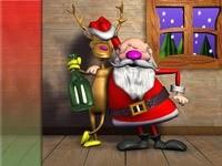 Олень и Санта  отмечают праздник