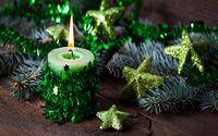 Новогодняя свеча и звездочки