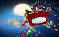 Санта в санях разбрасывает подарки