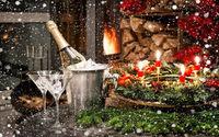 Шампанское с бокалами в Рождество