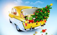 Дед Мороз на машине с ёлкой и подарками
