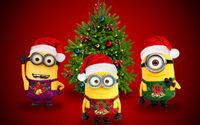 Новогодние Миньоны у рождественской ёлки
