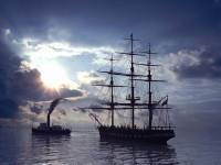 Два корабля в море