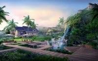 Пальмы и водопад