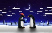 Пингвины и месяц