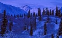 Вечером зимой в горах