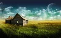 Ветхий дом в поле