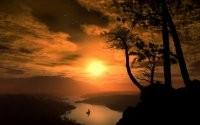 Солнце и одинокий корабль