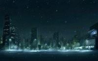 Снег на ночных улицах