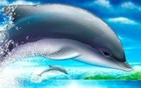 Рисованные дельфины