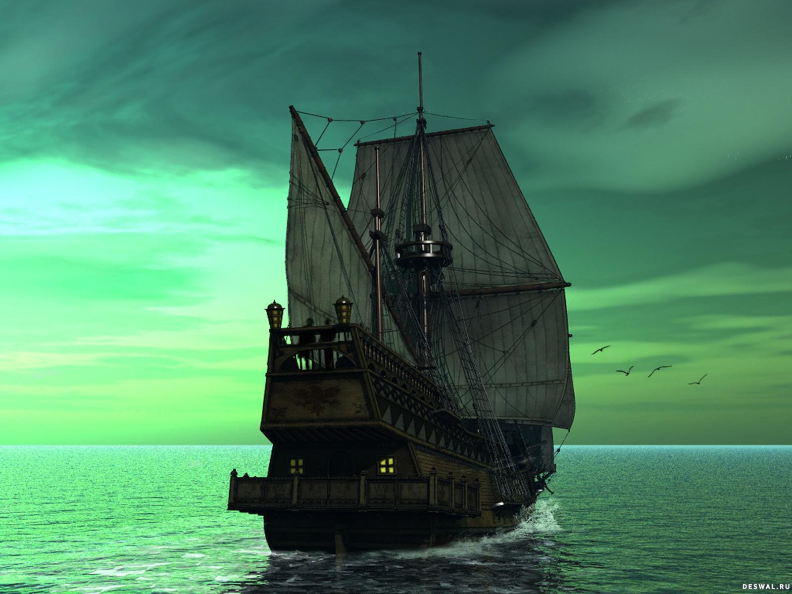 Старый парусный корабль в море
