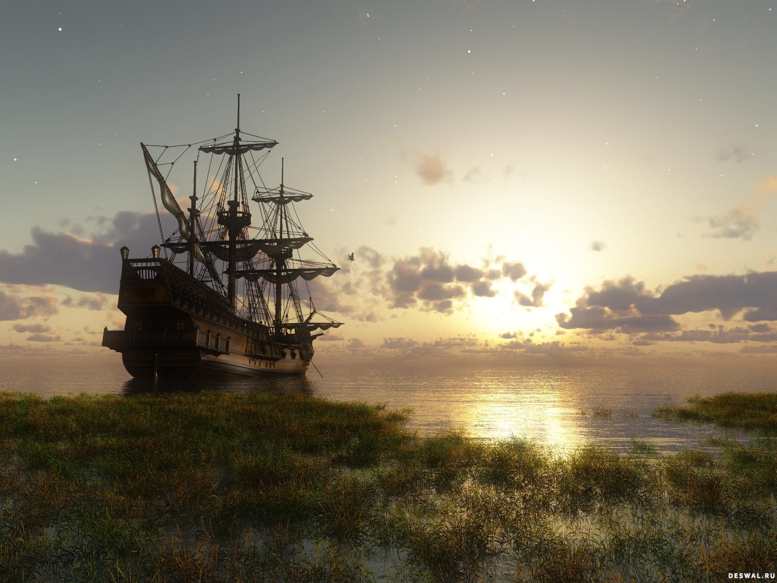 Старинный корабль на закате