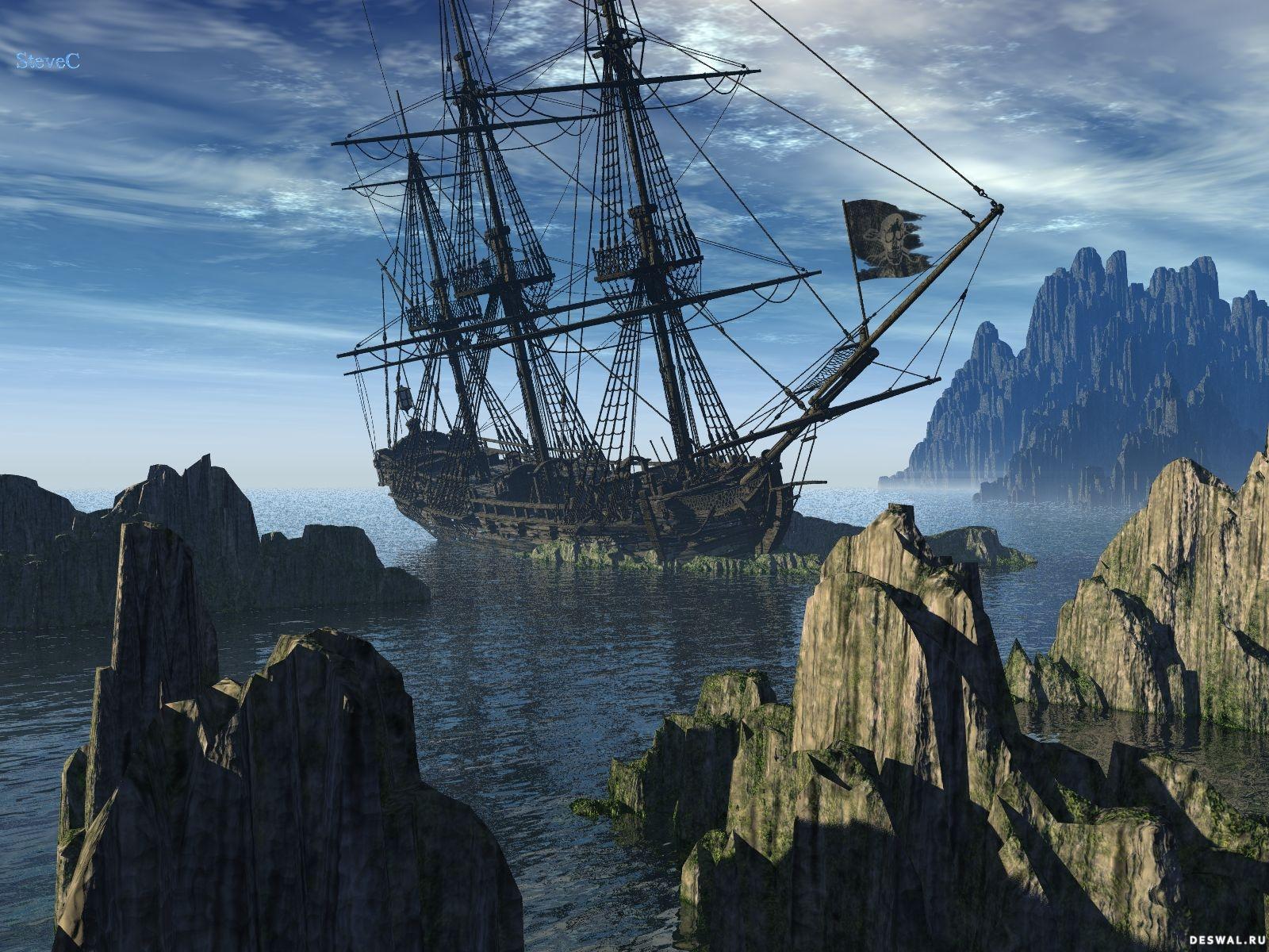 Пиратский корабль, рифы и скалы