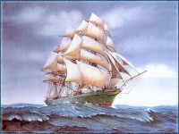 Рисунок парусника на волнах