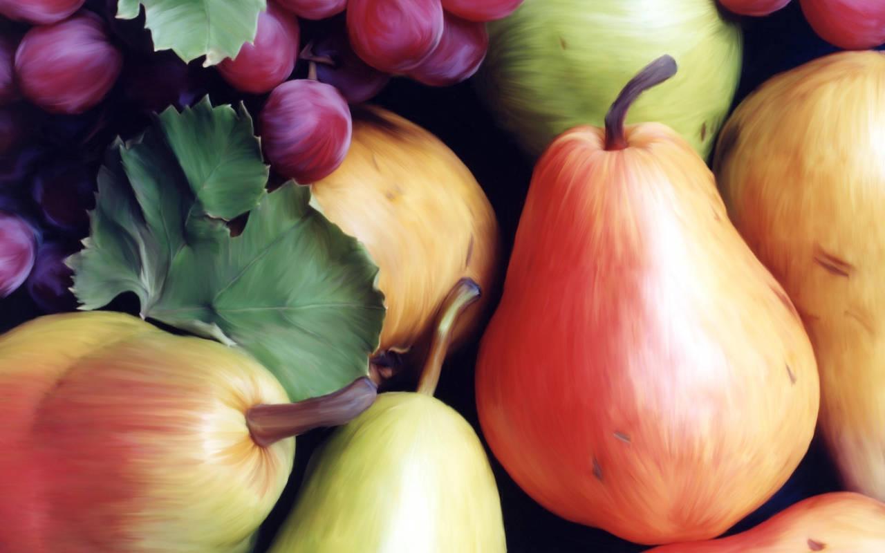 На рабочий стол рисованные фрукты