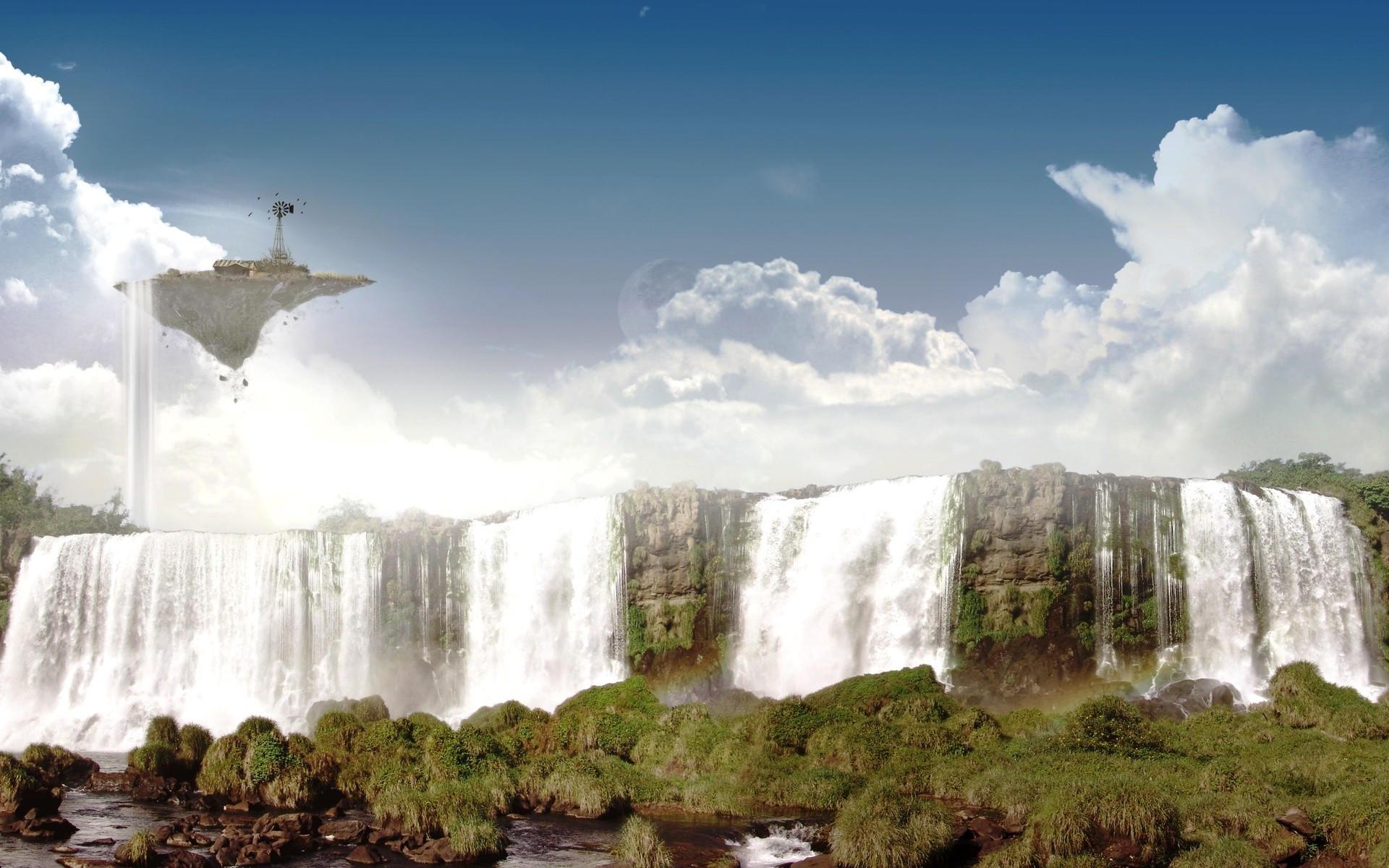 На рабочий стол фэнтезийный водопад